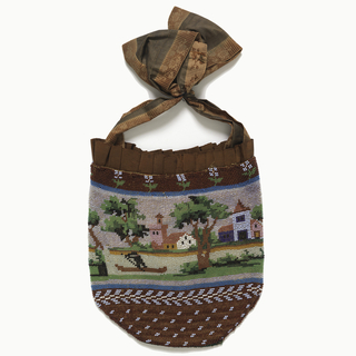 Pouch-shaped bag edged at top with pleated brown grosgrain ribbon, brocaded ribbon handles. Pictorial scene of houses, river, man rowing boat, with geometric patterns at bottom.