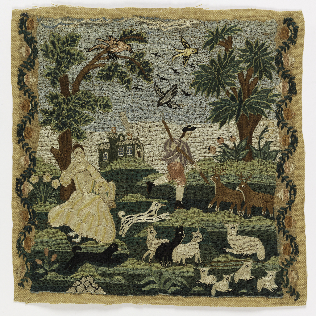 A pastoral scene, with a woman in a yellow, pink and ivory striped dress, a man with a dog advancing toward two stags, sheep and lambs in the foreground, and birds active in the sky. In the background, trees and a house with smoke rising from the chimney. On each side, a sinuous floral vine. Embroidery covers the entire surface.
