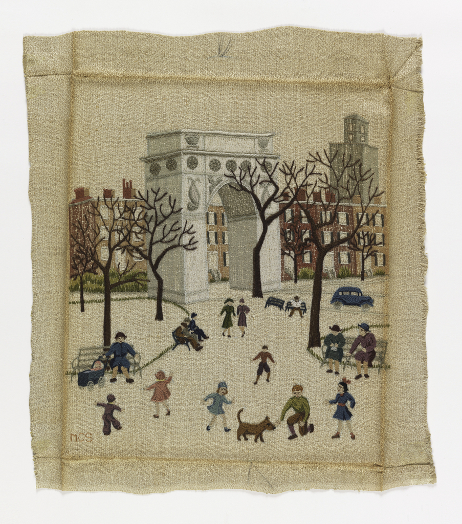 Picture of Washington Square Park with the arch in the center with townhouses behind, trees, and figures in the foreground walking sitting on benches, reading the paper, petting a dog etc.