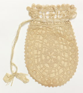 Oval shaped bag with drawstring top. Lined with white silk. Drawstring white silk ribbon.