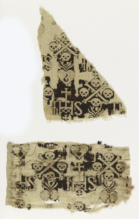 Religious motifs; holy monogram and skull and crossbones.