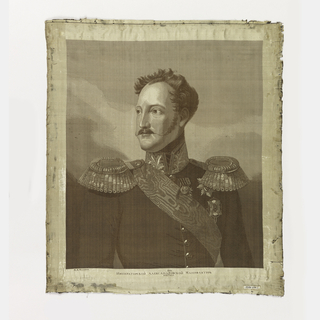 Rectangular panel showing a portrait of Czar Alexander I, depicting the ruler in military dress.