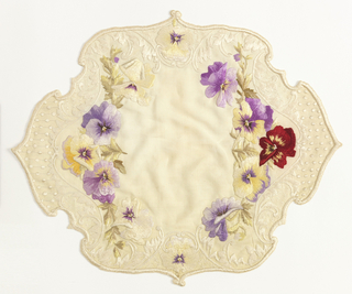 White linen tray or table mat of natural-colored linen, scalloped to a shape approximately oval, the edge buttonholed in white silk. multi-colored linen and silk embroidery of purple, yellow and red pansies with scrolls and dots.