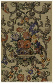 Polychrome block print on coarse natural linen or jute. Heavy, symmetrical grey and black strapwork entwined with polychrome floral vin in red, orange, blue, yellow. In center of strapwork is a brown basket of large polychrome flowers in orange, red, blue, lavender, yellow, with green leaves. Basket rests on shell fern.