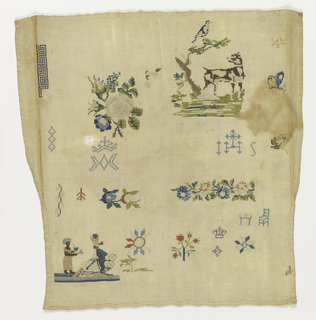 Scattered motifs including a dog under a tree, flowers and eastern potentate with servant. Irregular shape and hemmed on four sides.