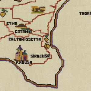 Map of the island of Sicily with principal cities marked, in many colors on a natural ground.