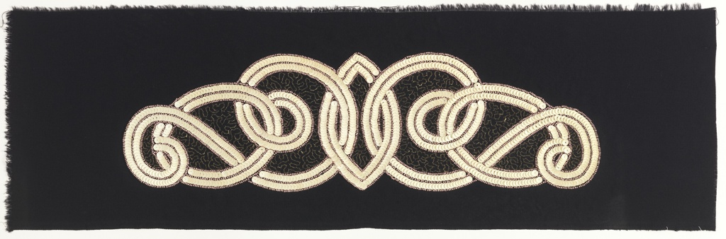 Interlaced design with white sequins and pink iridescent seed beads, with gold vermicular chain stitch accents in the interstices, on black crepe ground.