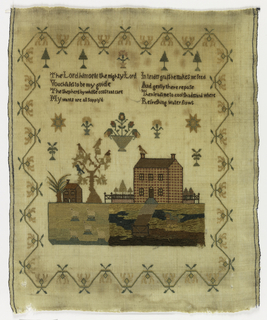 Verse, landscape with two houses, trees with birds, sheep on lawn and scattered flower and tree motifs surrounded by an angular border.