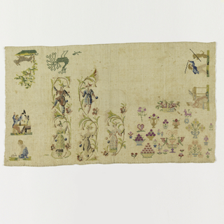 Two chinoiserie designs. Scenes of people, animals, vases and flowers.