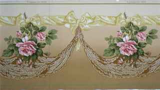Large-scale realistically trendered roses suspended from yellow ribbon. A lace swag , also suspended from the ribbon, hangs beneath each rose. Printed on a background that shades from light tan at top to a darker tan at bottom.