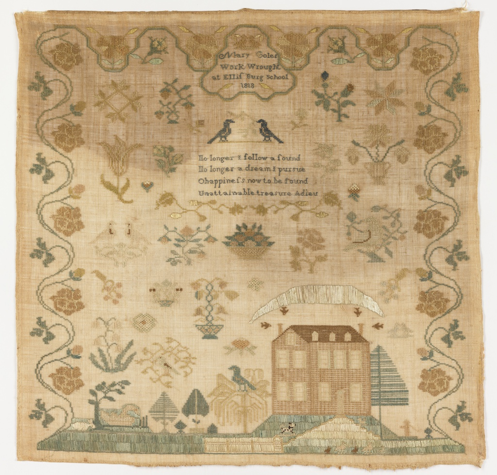 A landscape at the bottom with a large house, trees, and animals. The ground is filled with scattered motifs, inside a curving rose vine border. At the center top a cartouche with the inscription, and a verse at center:  No longer I follow a sound No longer a dream I pursue O happiness now to be found Unattainable treasure Adieux