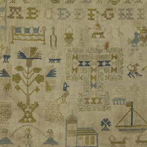 Alphabets, isolated motifs, and large ship in the middle.
