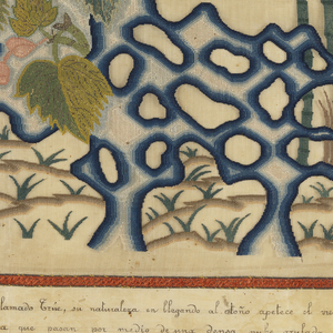 Central rectangle is an applique of embroidery on gauze with two Chinese poems on the left side and a rocky scene with bamboo trees and flowers at right within a red embroidered border. In four lines below the central scene is a Spanish translation of the two poems embroidered in black. A vine and flower garland embroidered in chenille and metallic thread forms the outer border.