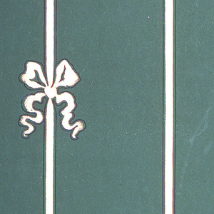 On green-blue ground, vertical stripes in white with staggered bows.