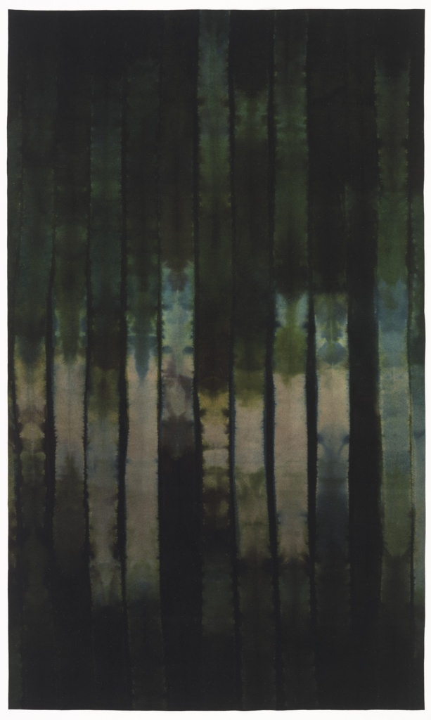 Panel of industrially-produced felt dyed using a stitch resist technique. Felt is pleated, sewn together and dipped in a reactive textile dye. Felt filters the dye to create different shades and intensities of color.