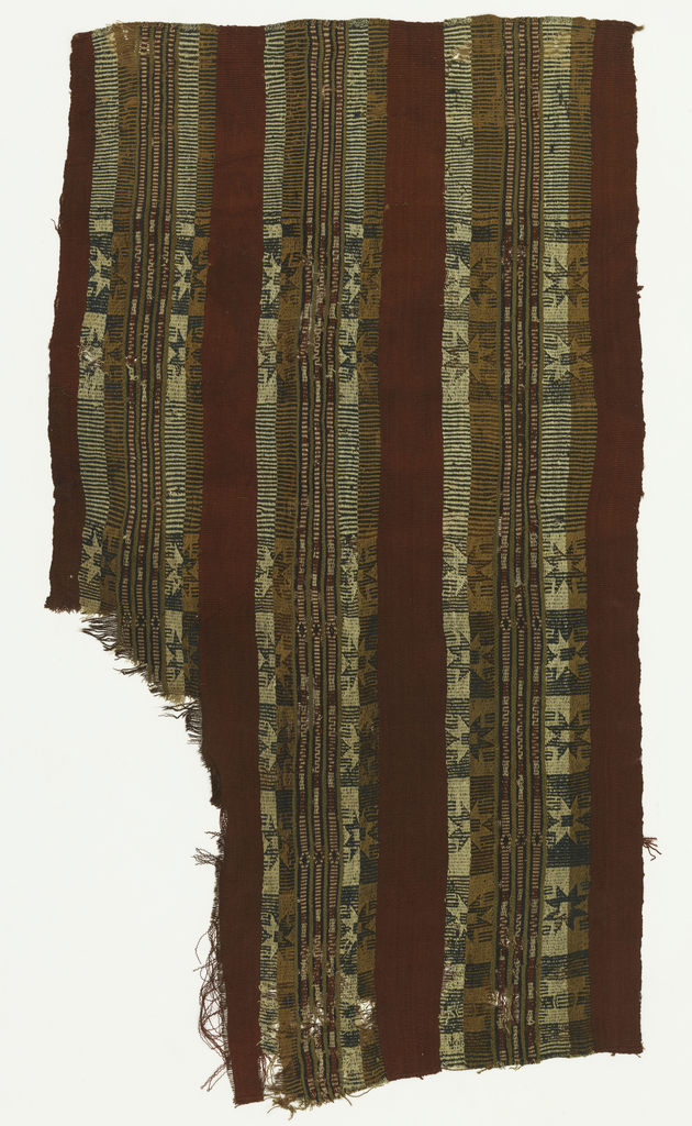 Horizontal bands filled with starts alternating in dark blue on half tan half natural background and contrasting light and dark values. Red bands between ornamented stripes.
