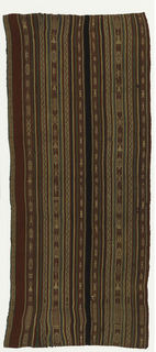 Textile panel in predominantly red stripes with green, white and dark brown accents. Narrow stripes patterned by small geometric shapes and human figures.