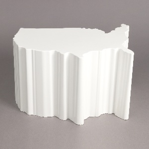 White plastic form molded in the shape of the continental United States.