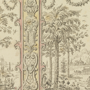 Wide central and two narrow lateral panels are flanked by pilaster strips. Each of these and the two halfs of the dado show alternative suggestions for the decoration. The panels show representations of Europeans in  stylised Chinese landscapes. At left a party is shown in the open; at center a reception is shown; at right a group of hunters. Rinceaux ornament decorates the ceiling cove.