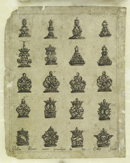 Five rows of four seals, each showing crowns, skulls, monograms, and various other ornamental motifs intended to be carried out in metal.
