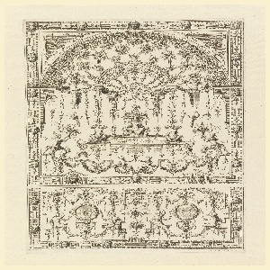 Symmetrical pattern filled with airy grotesques arranged in two sections on sheet. Upper portion shows a jester seated on a throne under an arched lattice trellis. The lower section shows two medalions with cherubs, each flanked by seated figures. Additional ornament includes strapwork, lambrequins, acanthus tendrils and fanciful creatures.