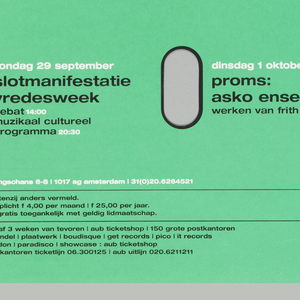 """Green poster with white rectangular strip at top, on which green text reads """"paradiso"""" between two arrows. Five rows of three ovals are cut from green ground. Beside each oval, black and white text lists a performance."""