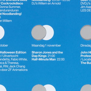 "Blue poster with white rectangular strip at top, on which blue text reads ""Paradiso."" Four rows of four circles are cut from blue ground. A white printed circle overlaps with each cutout. Beneath each circle, white text lists a performance."