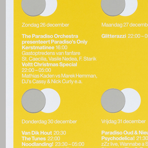"""Yellow poster with white rectangular strip at top, on which yellow text reads """"Paradiso."""" Four rows of four circles are cut from yellow ground. A white printed circle overlaps with each cutout. Beneath each circle, white text lists a performance."""