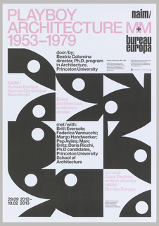 "Square-cropped views of nine black Playboy Bunny heads, rotated at different angles and interspersed with sections of text in pink and black. Top of page reads ""Playboy/Architecture/1953-1979"" in rows of large pink type. Poster advertises exhibition held at NAiM / Bureau Europa."
