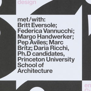 """Square-cropped views of nine black Playboy Bunny heads, rotated at different angles and interspersed with sections of text in pink and black. Top of page reads """"Playboy/Architecture/1953-1979"""" in rows of large pink type. Poster advertises exhibition held at NAiM / Bureau Europa."""