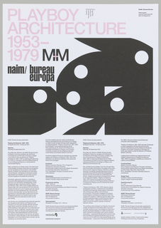 Square-cropped views of five black Playboy Bunny heads, rotated at different angles. Flyer title (Playboy Architecture 1953-1979) is printed in pink at top. Beneath the bunnies, columns of text are printed in small black type. Poster advertises exhibition held at NAiM / Bureau Europa.