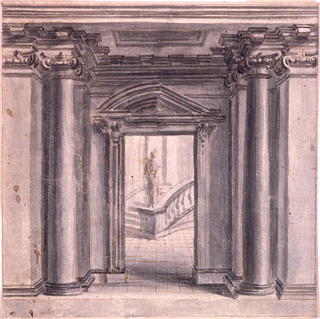 Drawing, Painted decoration: a vestibulum with a view into the staircase, ca. 1730
