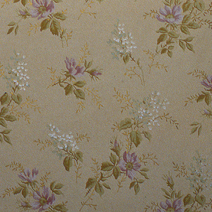 On tan ground, staggered stemmed purple, white and gold flowers.