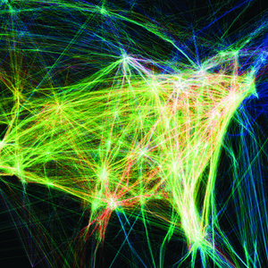 Data visualization of air traffic paths over North America during a 24-hour period.