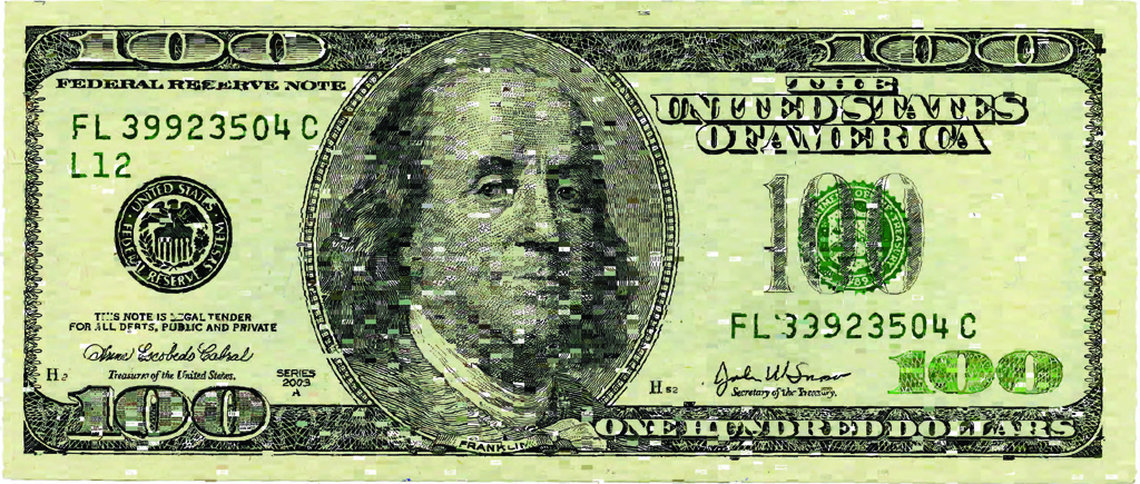 Digital rendering of a $100 bill created from ten-thousand crowdsourced individual drawings