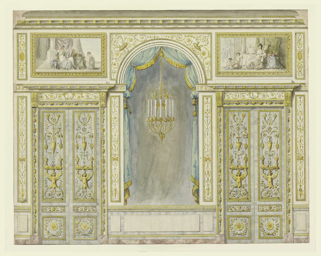 An elevation of a wall.  At the center, an arch rising from a dado, is flanked by two folding doors with decorative panels.  The arch is lined inside by a draped curtain.  A chandelier is suspended at the center of the arch.  A panel with a painting is placed above each door.  The scenes in the paintings show Prudence and Justice.