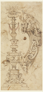 A smoking baluster candelabra decorated with masks, swags and sphinxes. At right, strapwork with masks forms the right portion of an escutcheon.