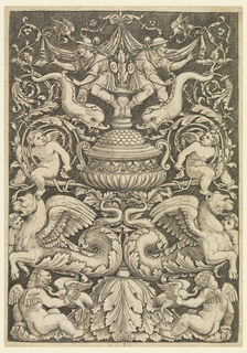 Vertical rectangle showing a symmetrical grotesque design composed of putti, dolphins, sea lions, birds and bearded men.