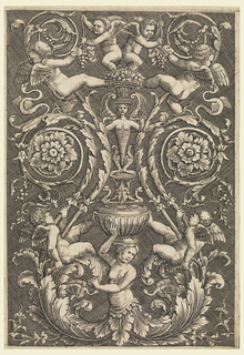 Vertical grotesque design with putti, grape vines and a central candelabrum motif.
