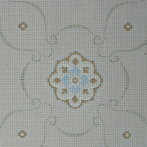 Alternating small, medium, and large fleurons in a treillage pattern of scrolls made out of small green lines. Background is covered in a grid of small square dots. Ground is beige. Printed in cream, blue, green, and browns.