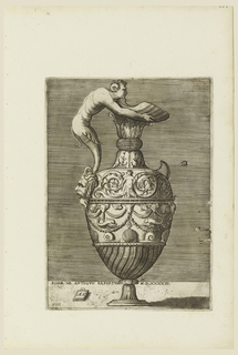 Print, Ewer with a Satyr Holding a Large Conch (Vico), 1543