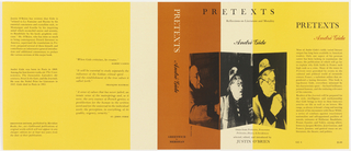 Horizontal rectangle, ground made up of blocks of yellow, white, and burnt orange. At front cover, three photoillustrations of author in diagonal panes, arranged like a folding screen, each a black print on different background color. Black text throughout, white text at spine.