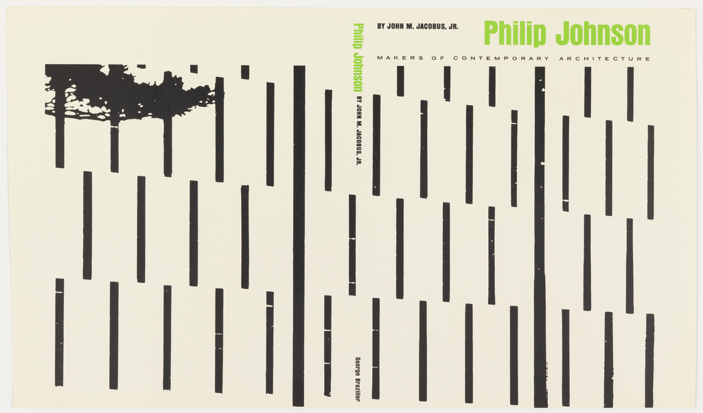 Design for a book cover with white ground. A series of black vertical lines and four rows of dashes spans front and back cover. At upper left of back cover, silhouette detail of a tree branch with leaves. Author and title printed across the top of the front cover in black and green.