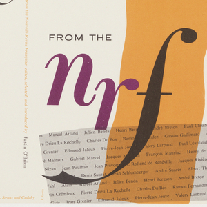 Both front and back cover have the same pattern, an orange band running from top to bottom down the center and a gray one running across at the bottom. In the gray band are printed rows of names, probably authors of essays. Title printed in purple and black. On the right jacket leaf is a printed synopsis of the NRF and the selected essays. Editor and publisher information at spine.