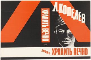 "Book cover for the Russian Triquarterly. The title of the book is printed across the bottom in red letters and on the spine in white. The author's name is printed diagonally in white across the cover and on the bottom of the spine. The cover has a black background with the image of a man or soldier. Red diagonal lines on the front and back cover from the lower portion of an ""X."" A horizontal band of white runs across the bottom."