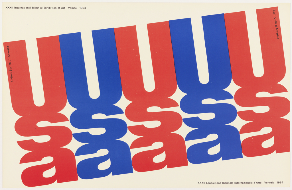 "Printed text ""usa"" arranged vertically, repeating across white ground in a diagnal line, alternating between red and blue. Black printed text at upper left and lower right."