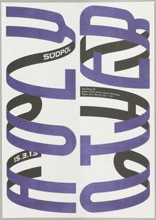 "Poster for Holy Other concert at Südpol, March 2013. Large purple letters read ""Holy Other"" sideways in this vertical poster. The letters appear to wrap around a three-dimensional cylinder, so that the underside of each letter (black) is partially visible. Additional information about the concert is printed in white on these black back sections."