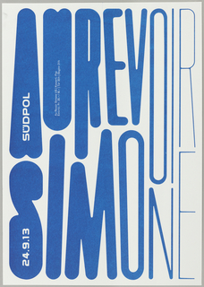 "Text ""AU REVOIR"" and beneath it ""SIMONE"" is printed in blue letters.  As the letters progress from left to right across the page, they become more condensed and linear."