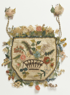 Flat purse with a drawstring top; one face has a bouquet of flowers, the other a basket of flowers. The sides and top are decorated with a deep edging of fruit, flowers, and animals, including a camel. In polychrome silks over white satin. An example of a type of needle knotting called oya, practiced in the Eastern Mediterranean.