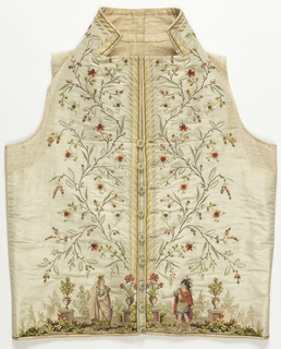 White silk waistcoat with high stand collar and straight hem edge. Very deep border at front edges of a curving, flowering vine. At the bottom, embroidered figures in classical dress stand in front of a stone balustrade with urns of flowers and fruit trees. The figures represent  Dido, Queen of Carthage, and the Trojan hero Aeneas, from the opera by Piccini and Marmontel, produced in 1785. The figure of Dido is after a drawing by Jean-Michel Moreau le Jeune for the costume worn by Mlle. de Saint-Huberty. In twenty-five colors of silk.